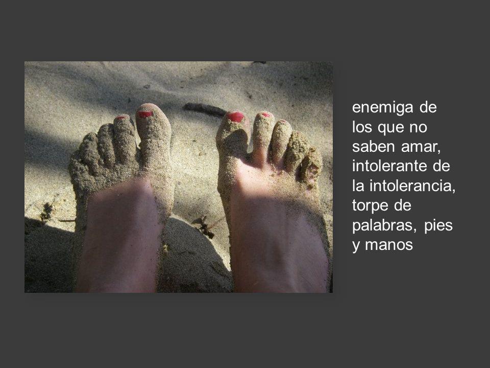 enemiga de los que no saben amar, intolerante de la intolerancia, torpe de palabras, pies y manos