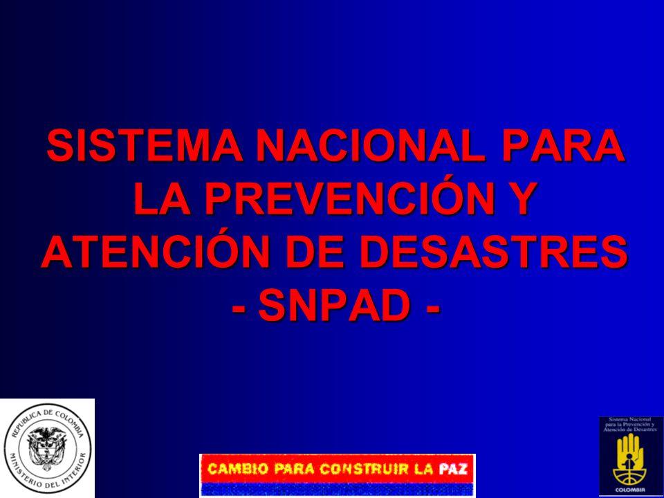 LEGISLACIÓN DE ATENCIÓN DE DESASTRES HISTORIA Decreto 919/89: Reglamenta la organización y funcionamiento del S.N.P.A.D. Decreto Ley 1547/84: Funciona
