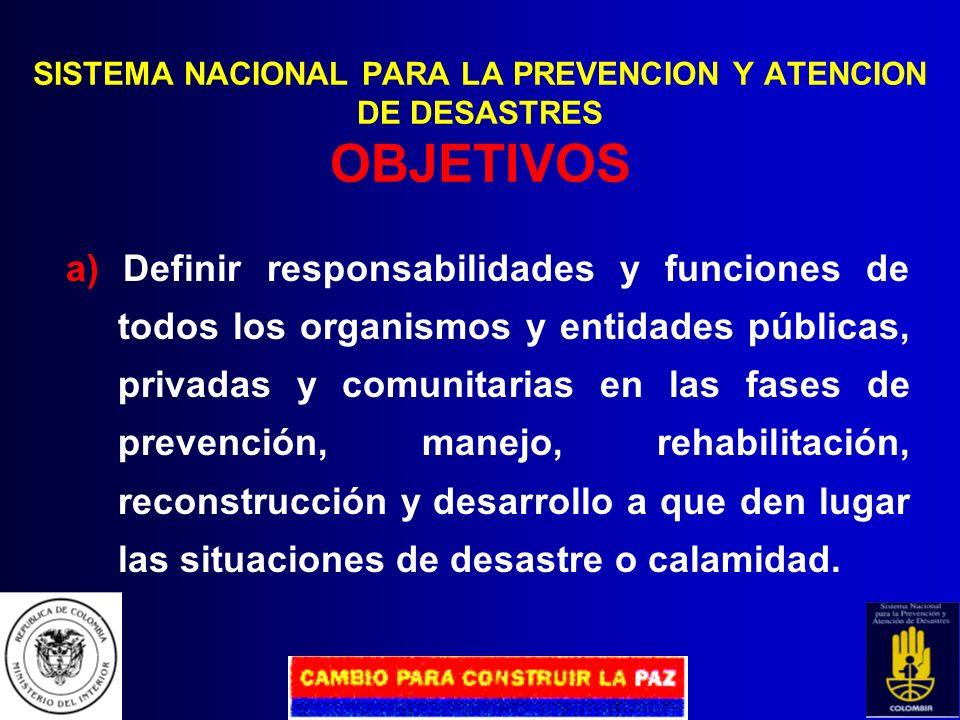 SISTEMA NACIONAL PARA LA PREVENCION Y ATENCION DE DESASTRES - SNPAD - Conjunto de entidades públicas, privadas y comunitarias integradas, con el objet