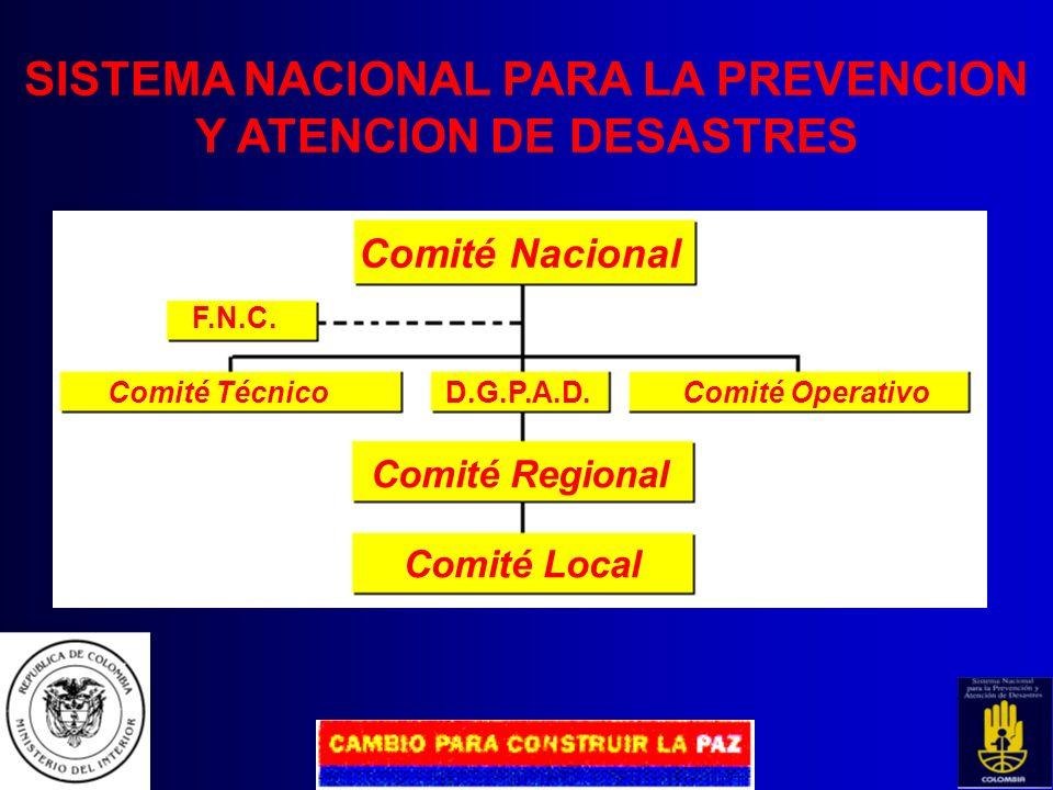 SISTEMA NACIONAL PARA LA PREVENCION Y ATENCION DE DESASTRES CARACTERÍSTICAS DESCENTRALIZADO El nivel municipal es la base del Sistema. Los niveles dep
