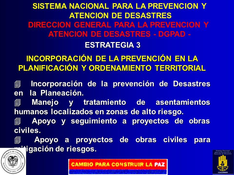 SISTEMA NACIONAL PARA LA PREVENCION Y ATENCION DE DESASTRES DIRECCION GENERAL PARA LA PREVENCION Y ATENCION DE DESASTRES - DGPAD - ESTRATEGIA 2 EVALUA