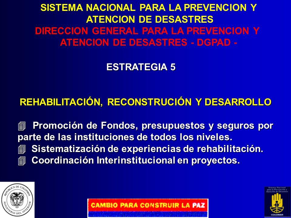 SISTEMA NACIONAL PARA LA PREVENCION Y ATENCION DE DESASTRES DIRECCION GENERAL PARA LA PREVENCION Y ATENCION DE DESASTRES - DGPAD - ESTRATEGIA 4 PREPAR