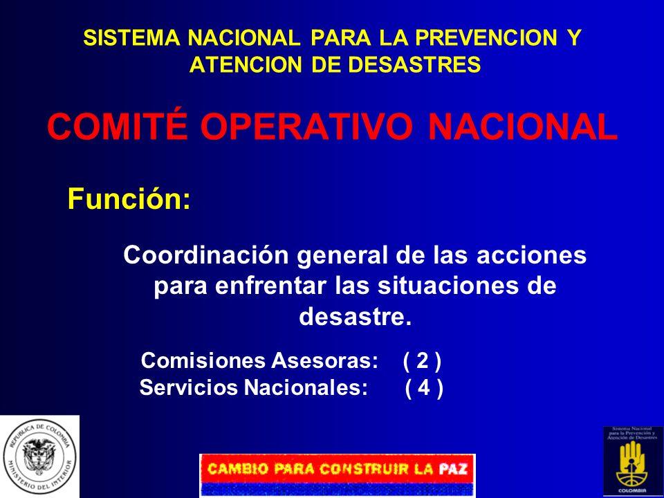 SISTEMA NACIONAL PARA LA PREVENCION Y ATENCION DE DESASTRES COMITÉ TÉCNICO NACIONAL Organismo de carácter asesor y coordinador conformado por represen