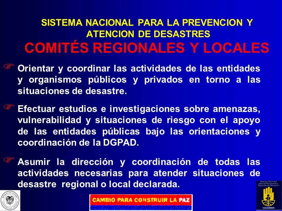 SISTEMA NACIONAL PARA LA PREVENCION Y ATENCION DE DESASTRES COMITÉ OPERATIVO NACIONAL Función: Coordinación general de las acciones para enfrentar las