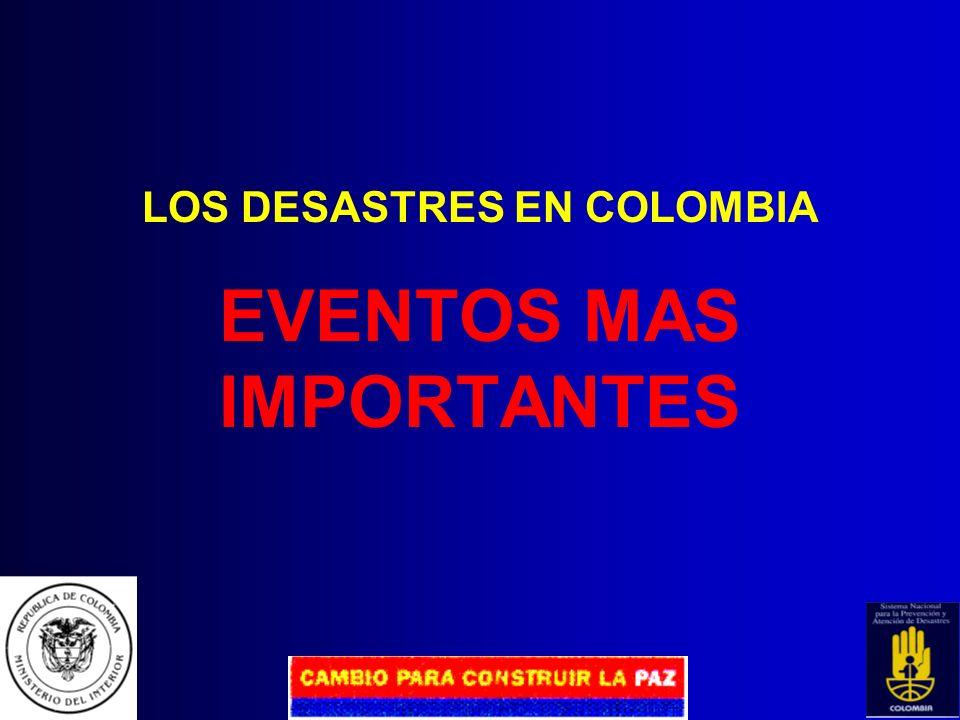LOS DESASTRES EN COLOMBIA RECUENTO HISTORICO 1906 Destrucción 100% de Tumaco. 1973 Incendio torre de Avianca. 1979 Tsunami destruye Tumaco. 1983 Destr