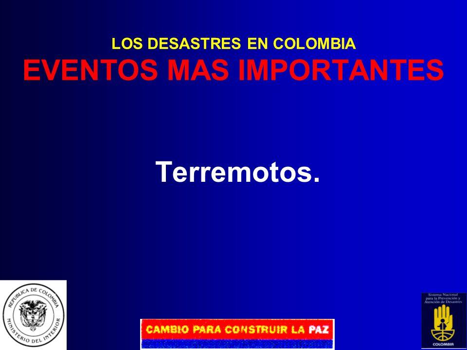 LOS DESASTRES EN COLOMBIA EVENTOS MAS IMPORTANTES
