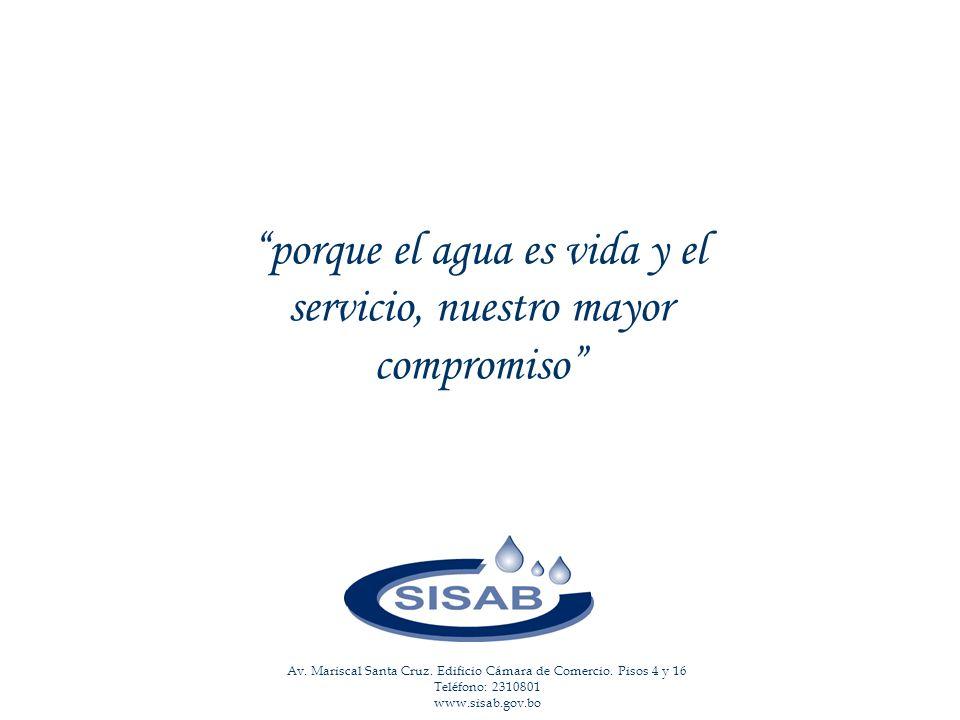 porque el agua es vida, y el servicio, nuestro mayor compromiso porque el agua es vida y el servicio, nuestro mayor compromiso Av.