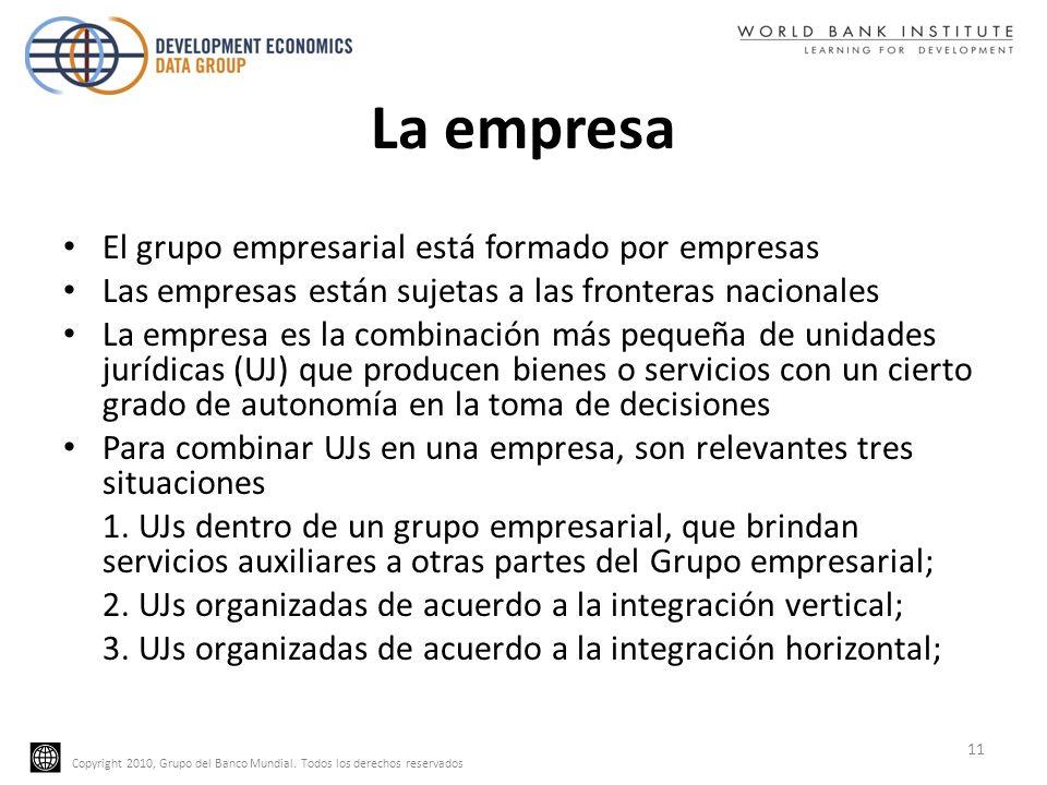 Copyright 2010, Grupo del Banco Mundial. Todos los derechos reservados La empresa El grupo empresarial está formado por empresas Las empresas están su