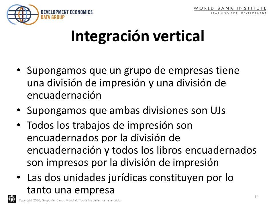 Copyright 2010, Grupo del Banco Mundial. Todos los derechos reservados Integración vertical Supongamos que un grupo de empresas tiene una división de
