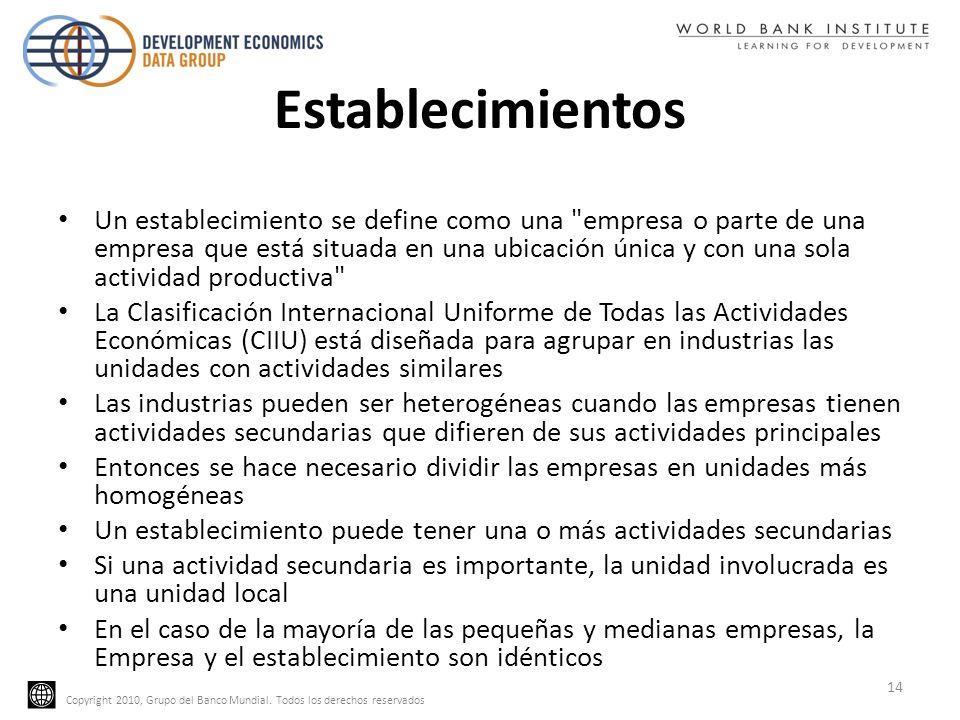 Copyright 2010, Grupo del Banco Mundial. Todos los derechos reservados Establecimientos Un establecimiento se define como una