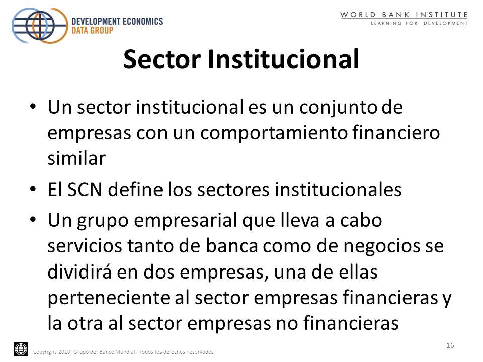Copyright 2010, Grupo del Banco Mundial. Todos los derechos reservados Sector Institucional Un sector institucional es un conjunto de empresas con un