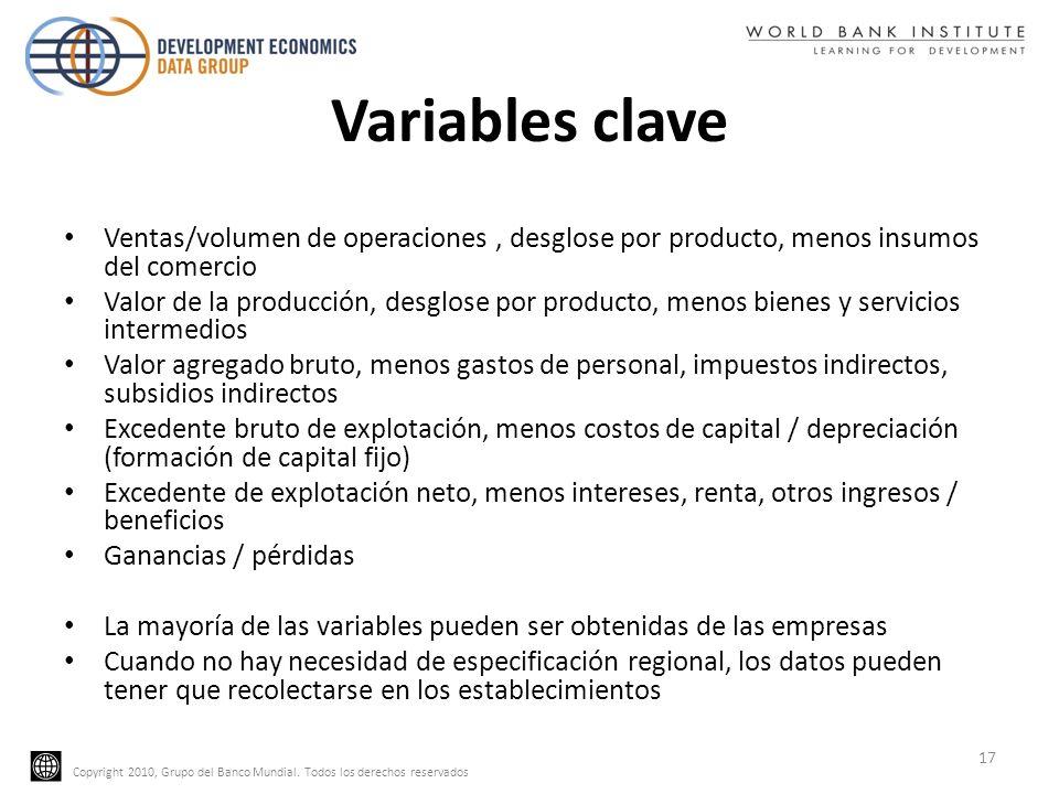 Copyright 2010, Grupo del Banco Mundial. Todos los derechos reservados Variables clave Ventas/volumen de operaciones, desglose por producto, menos ins