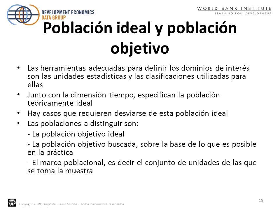 Copyright 2010, Grupo del Banco Mundial. Todos los derechos reservados Población ideal y población objetivo Las herramientas adecuadas para definir lo