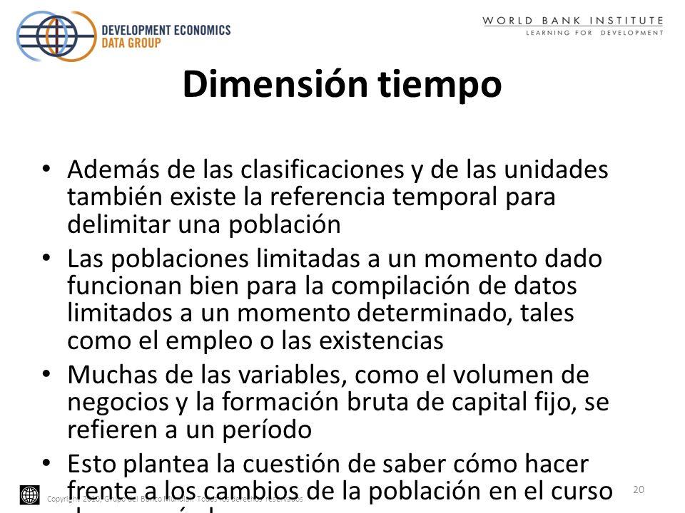 Copyright 2010, Grupo del Banco Mundial. Todos los derechos reservados Dimensión tiempo Además de las clasificaciones y de las unidades también existe