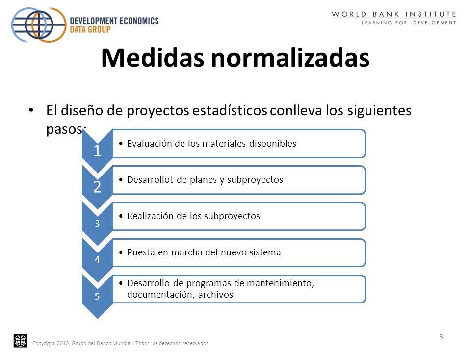 Copyright 2010, Grupo del Banco Mundial. Todos los derechos reservados Medidas normalizadas El diseño de proyectos estadísticos conlleva los siguiente