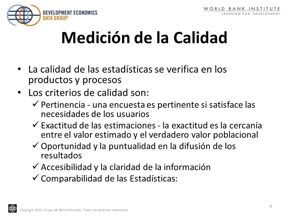 Copyright 2010, Grupo del Banco Mundial. Todos los derechos reservados Medición de la Calidad La calidad de las estadísticas se verifica en los produc