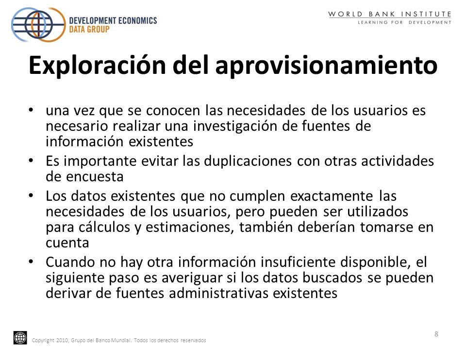 Copyright 2010, Grupo del Banco Mundial. Todos los derechos reservados Exploración del aprovisionamiento una vez que se conocen las necesidades de los
