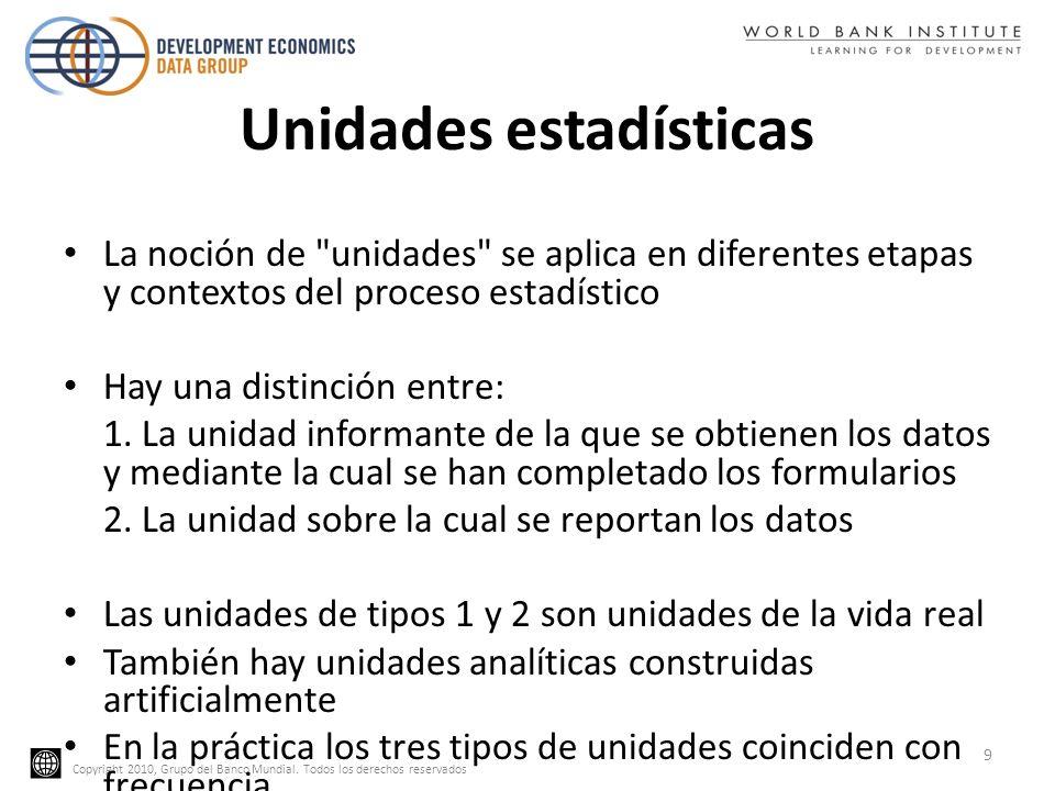Copyright 2010, Grupo del Banco Mundial. Todos los derechos reservados Unidades estadísticas La noción de