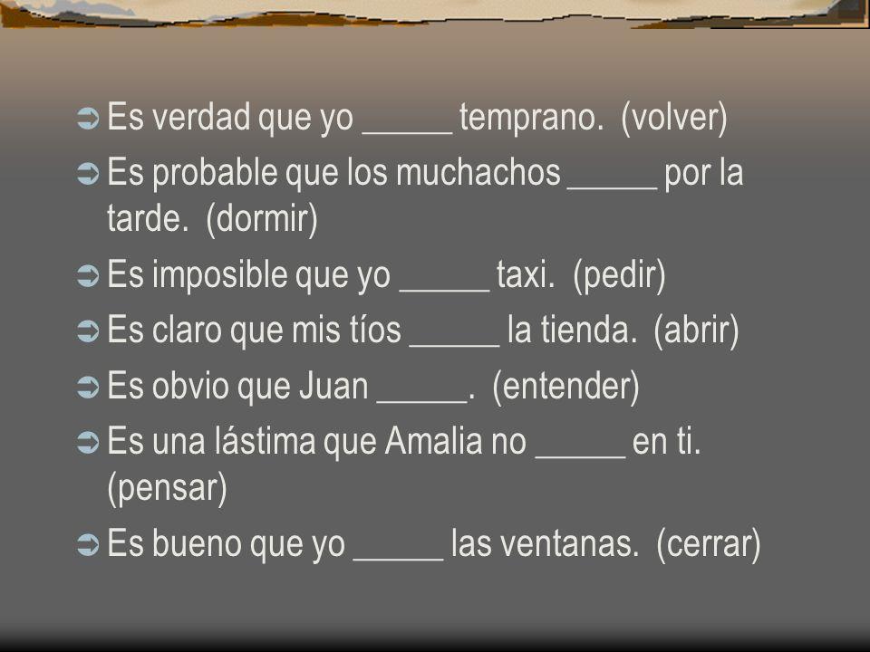 Práctica del subjuntivo Ojalá que Marcos no _____. (trabaje) Es cierto que yo no _____ empleo. (consigo) Es importante que Federico y Paula nos _____.