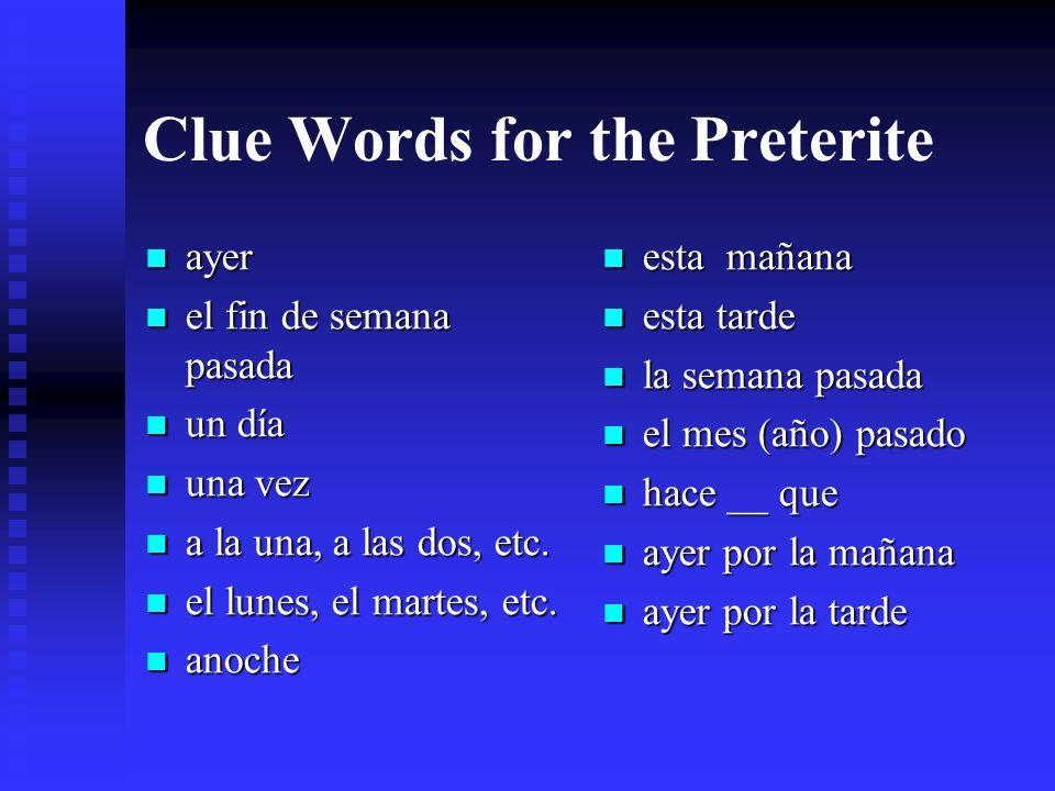 Clue Words for the Imperfect todos los días generalmente siempre muchas veces todavía mientras nunca por un rato a menudo a veces cada día con frecuen