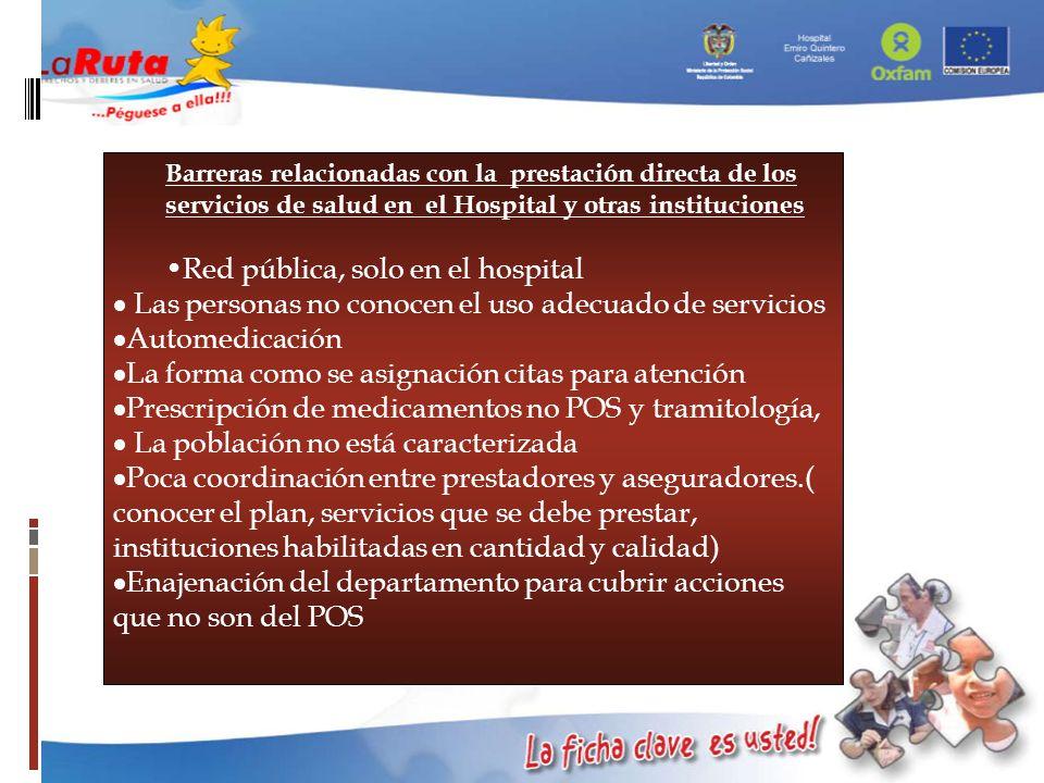 Barreras relacionadas con la prestación directa de los servicios de salud en el Hospital y otras instituciones Red pública, solo en el hospital Las pe