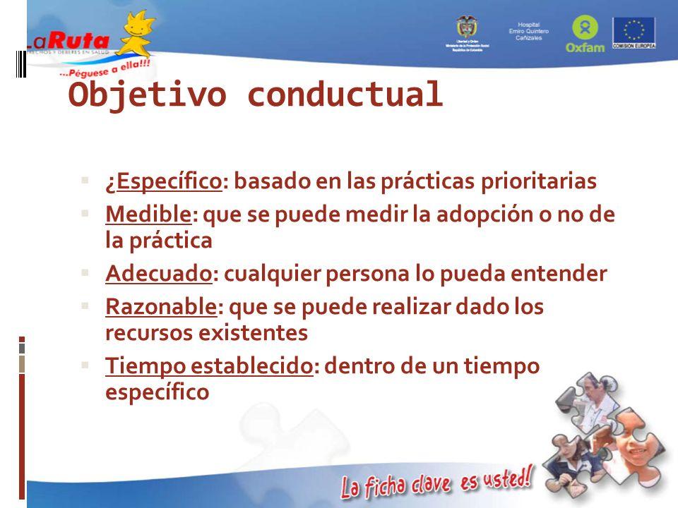 Objetivo conductual Específico: basado en las prácticas prioritarias ¿Específico: basado en las prácticas prioritarias Medible: que se puede medir la