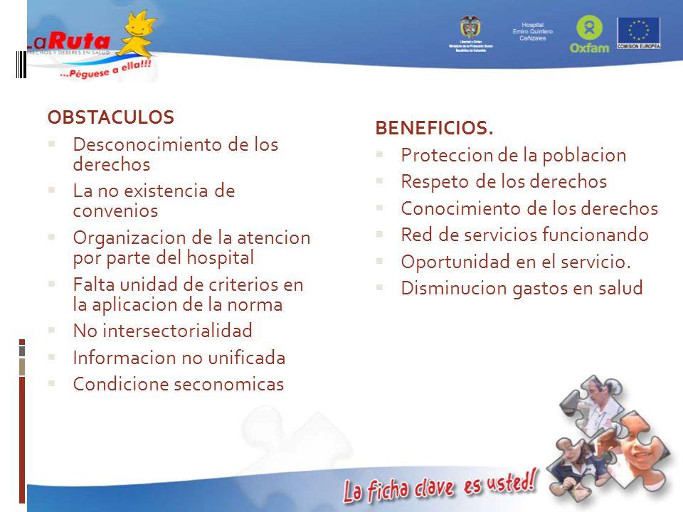 BENEFICIOS. Proteccion de la poblacion Respeto de los derechos Conocimiento de los derechos Red de servicios funcionando Oportunidad en el servicio. D