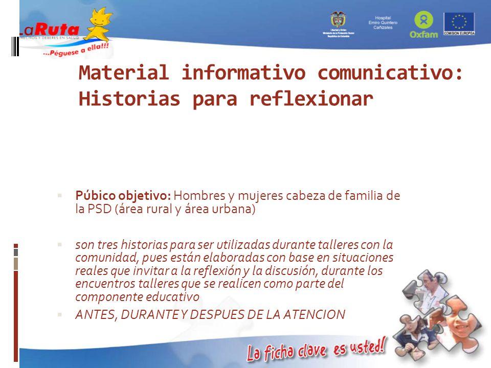 Material informativo comunicativo: Historias para reflexionar Púbico objetivo: Hombres y mujeres cabeza de familia de la PSD (área rural y área urbana