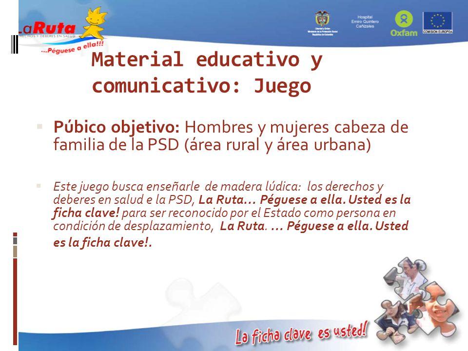 Material educativo y comunicativo: Juego Púbico objetivo: Hombres y mujeres cabeza de familia de la PSD (área rural y área urbana) Este juego busca en