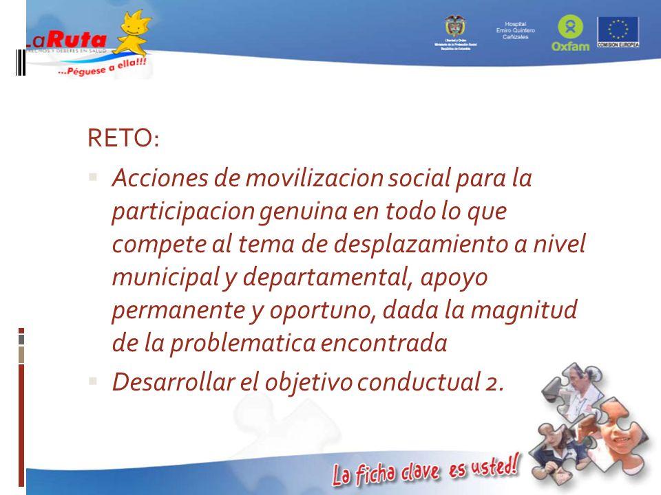 RETO: Acciones de movilizacion social para la participacion genuina en todo lo que compete al tema de desplazamiento a nivel municipal y departamental