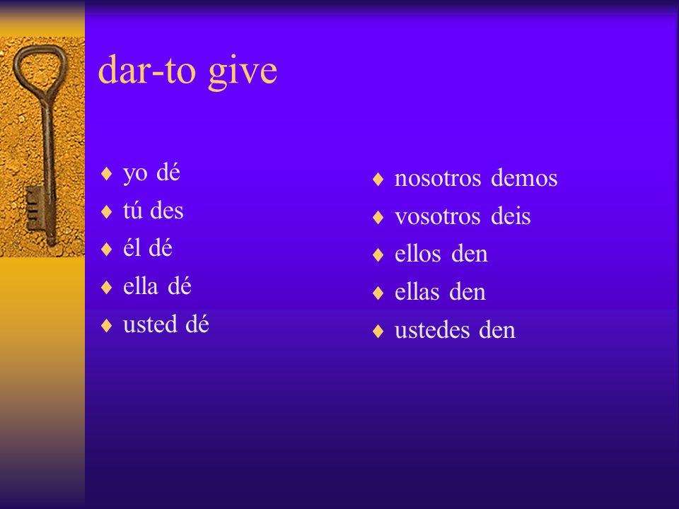 dar-to give yo dé tú des él dé ella dé usted dé nosotros demos vosotros deis ellos den ellas den ustedes den
