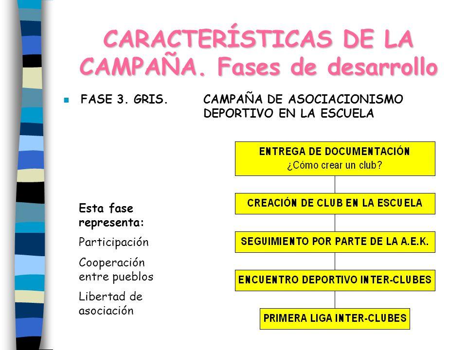 CARACTERÍSTICAS DE LA CAMPAÑA.Fases de desarrollo n FASE 3.