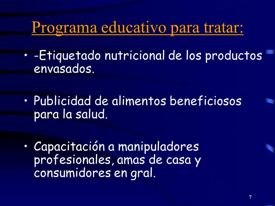 7 Programa educativo para tratar: -Etiquetado nutricional de los productos envasados. Publicidad de alimentos beneficiosos para la salud. Capacitación