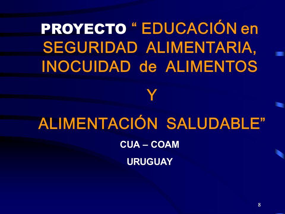 8 PROYECTO EDUCACIÓN en SEGURIDAD ALIMENTARIA, INOCUIDAD de ALIMENTOS Y ALIMENTACIÓN SALUDABLE CUA – COAM URUGUAY