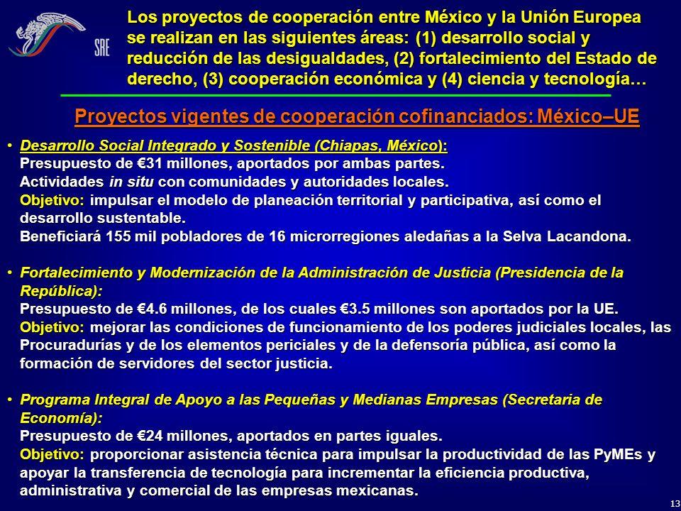 13 Los proyectos de cooperación entre México y la Unión Europea se realizan en las siguientes áreas: (1) desarrollo social y reducción de las desigual