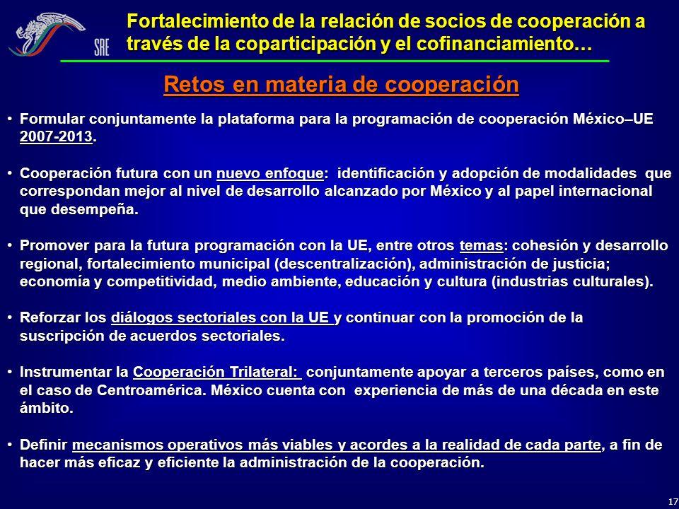 17 Fortalecimiento de la relación de socios de cooperación a través de la coparticipación y el cofinanciamiento… Formular conjuntamente la plataforma