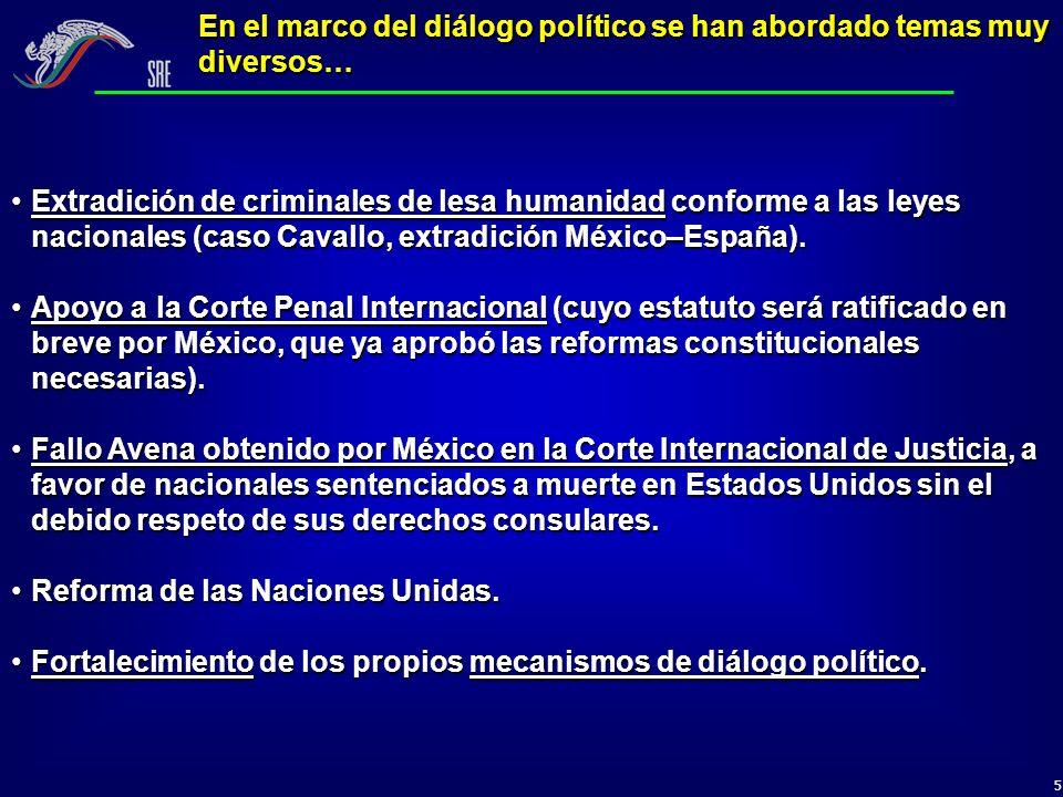 5 En el marco del diálogo político se han abordado temas muy diversos… Extradición de criminales de lesa humanidad conforme a las leyes nacionales (ca