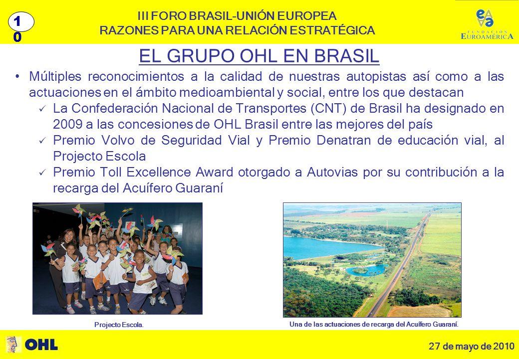 27 de mayo de 2010 11 III FORO BRASIL-UNIÓN EUROPEA RAZONES PARA UNA RELACIÓN ESTRATÉGICA EL GRUPO OHL EN BRASIL Múltiples reconocimientos a la calidad de nuestras autopistas así como a las actuaciones en el ámbito medioambiental y social, entre los que destacan La Confederación Nacional de Transportes (CNT) de Brasil ha designado en 2009 a las concesiones de OHL Brasil entre las mejores del país Premio Volvo de Seguridad Vial y Premio Denatran de educación vial, al Projecto Escola Premio Toll Excellence Award otorgado a Autovias por su contribución a la recarga del Acuífero Guaraní Projecto Escola.