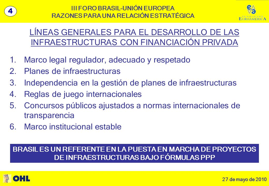 27 de mayo de 2010 5 III FORO BRASIL-UNIÓN EUROPEA RAZONES PARA UNA RELACIÓN ESTRATÉGICA 1.Marco legal regulador, adecuado y respetado 2.Planes de infraestructuras 3.Independencia en la gestión de planes de infraestructuras 4.Reglas de juego internacionales 5.Concursos públicos ajustados a normas internacionales de transparencia 6.Marco institucional estable BRASIL ES UN REFERENTE EN LA PUESTA EN MARCHA DE PROYECTOS DE INFRAESTRUCTURAS BAJO FÓRMULAS PPP LÍNEAS GENERALES PARA EL DESARROLLO DE LAS INFRAESTRUCTURAS CON FINANCIACIÓN PRIVADA 4