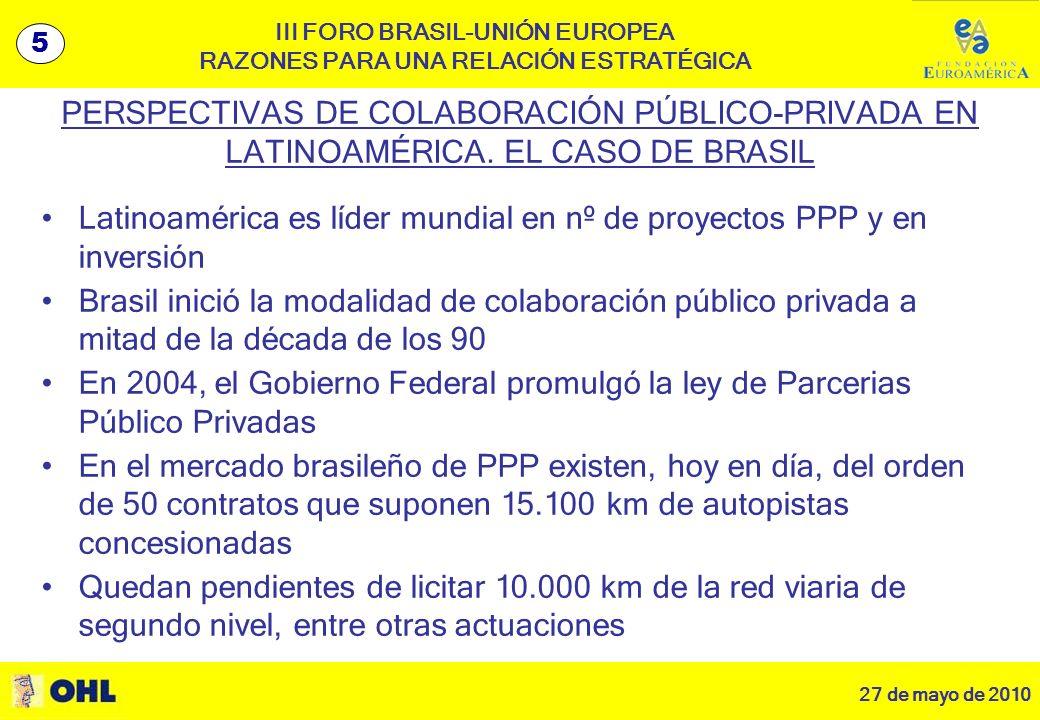 27 de mayo de 2010 6 III FORO BRASIL-UNIÓN EUROPEA RAZONES PARA UNA RELACIÓN ESTRATÉGICA PERSPECTIVAS DE COLABORACIÓN PÚBLICO-PRIVADA EN LATINOAMÉRICA.
