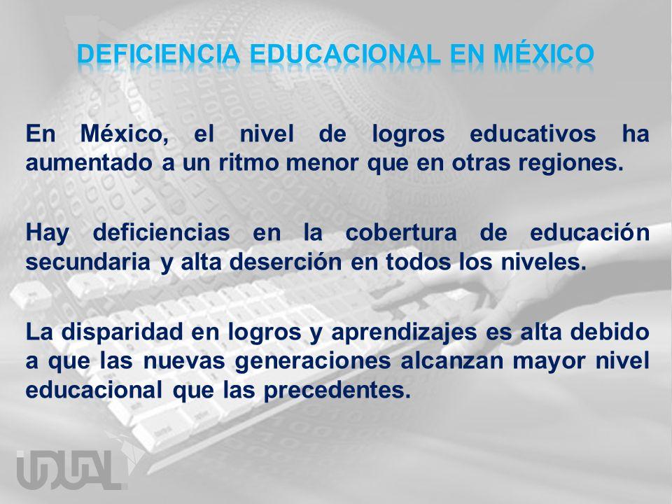 En México, el nivel de logros educativos ha aumentado a un ritmo menor que en otras regiones. Hay deficiencias en la cobertura de educación secundaria