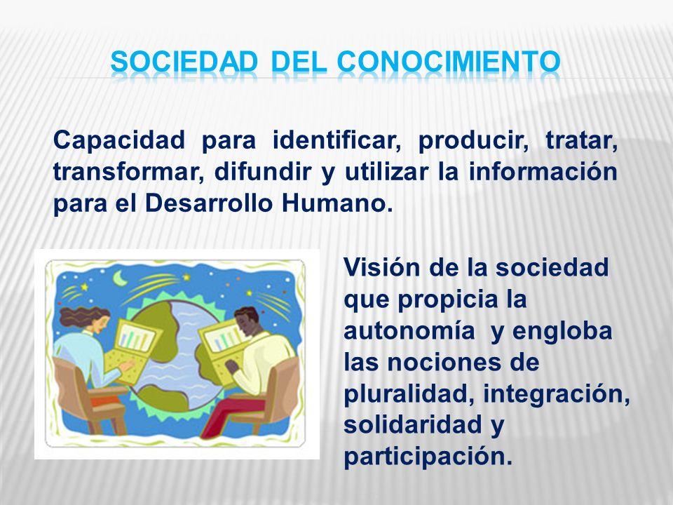 Capacidad para identificar, producir, tratar, transformar, difundir y utilizar la información para el Desarrollo Humano. Visión de la sociedad que pro