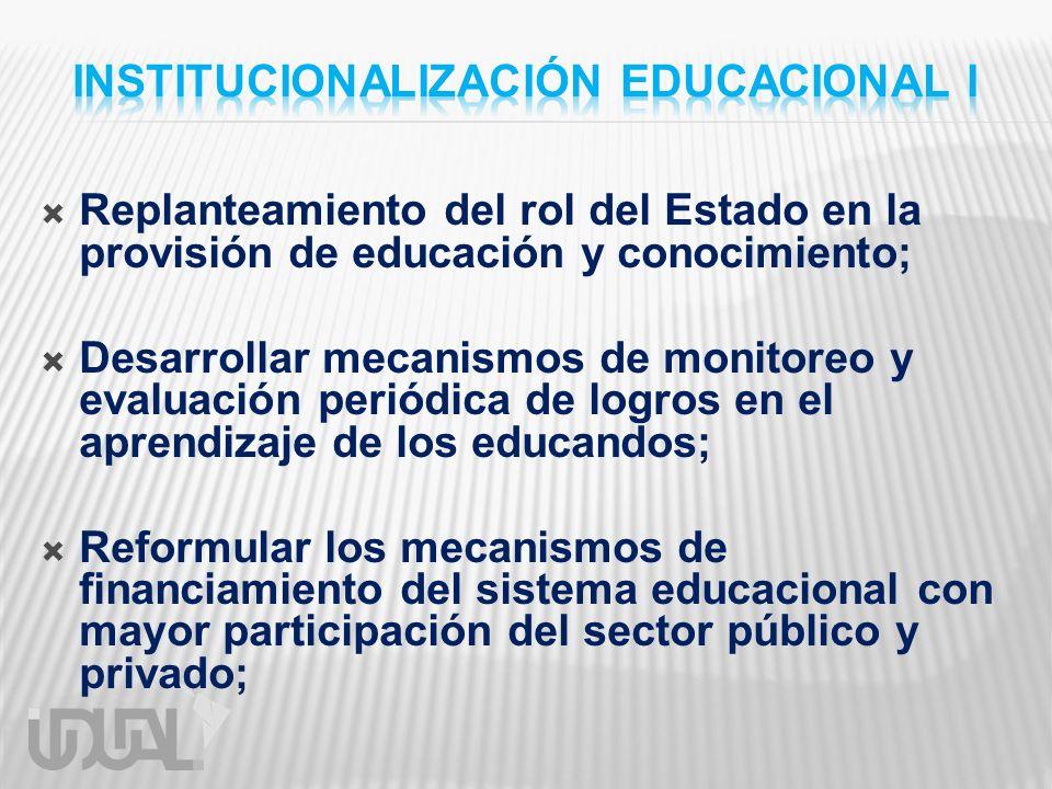 Replanteamiento del rol del Estado en la provisión de educación y conocimiento; Desarrollar mecanismos de monitoreo y evaluación periódica de logros e