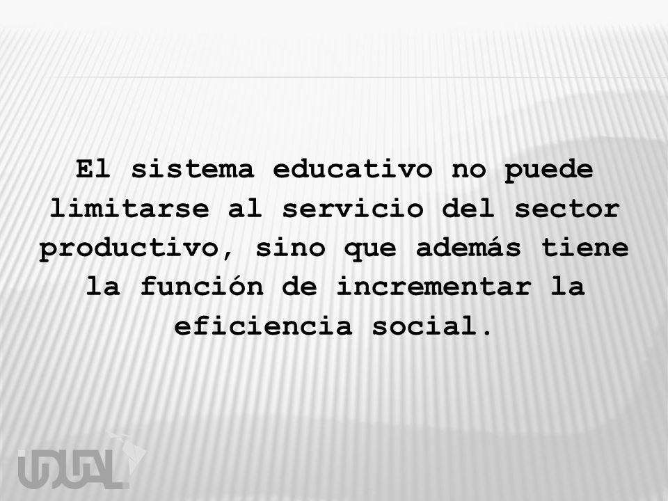 El sistema educativo no puede limitarse al servicio del sector productivo, sino que además tiene la función de incrementar la eficiencia social.
