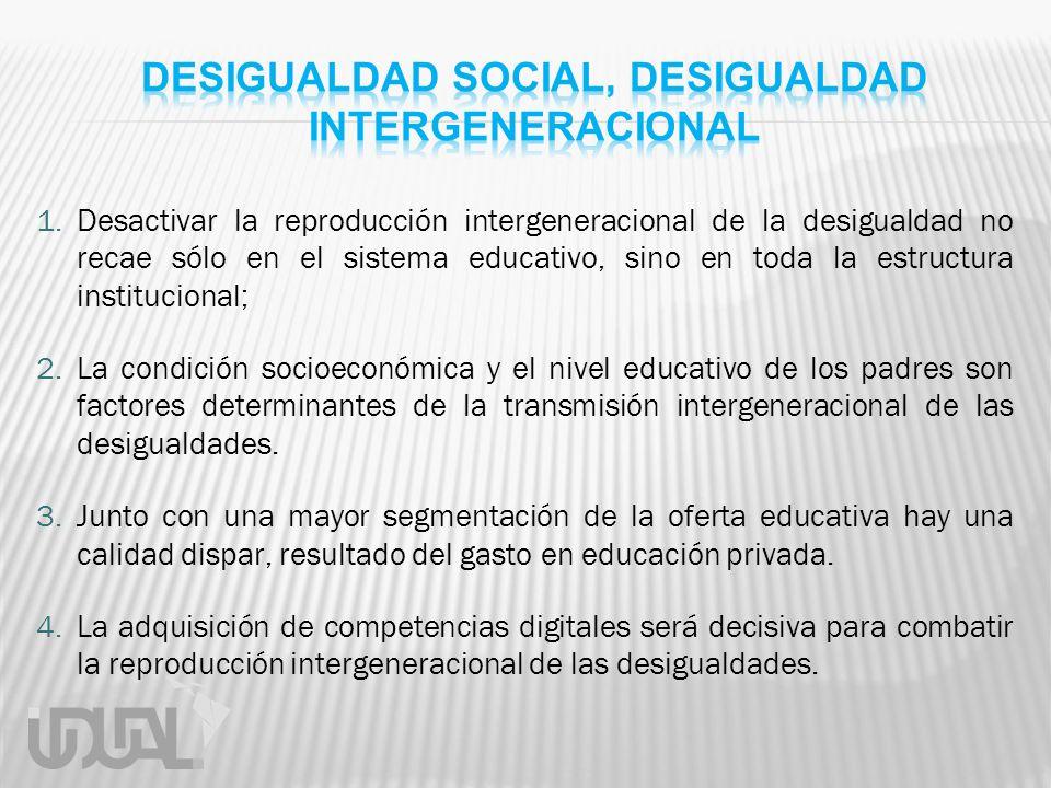 1.Desactivar la reproducción intergeneracional de la desigualdad no recae sólo en el sistema educativo, sino en toda la estructura institucional; 2.La