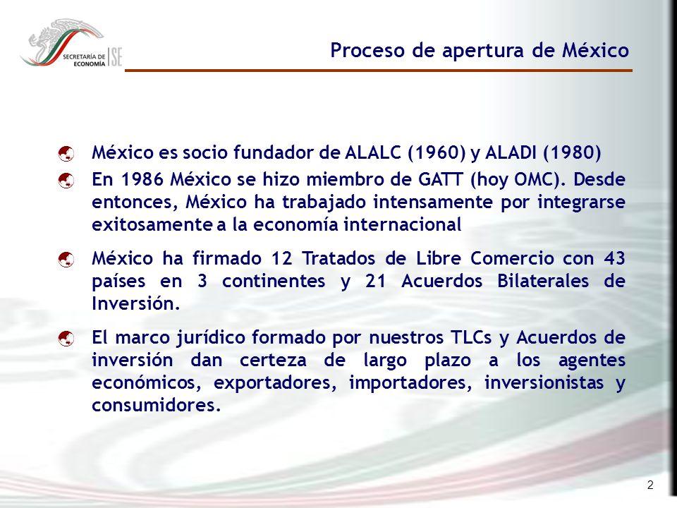 2 México es socio fundador de ALALC (1960) y ALADI (1980) En 1986 México se hizo miembro de GATT (hoy OMC).