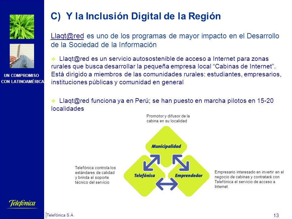 UN COMPROMISO CON LATINOAMÉRICA Telefónica S.A. 12 Estamos en un sector que promueve la cohesión social Desarrollamos proyectos concretos que dan solu