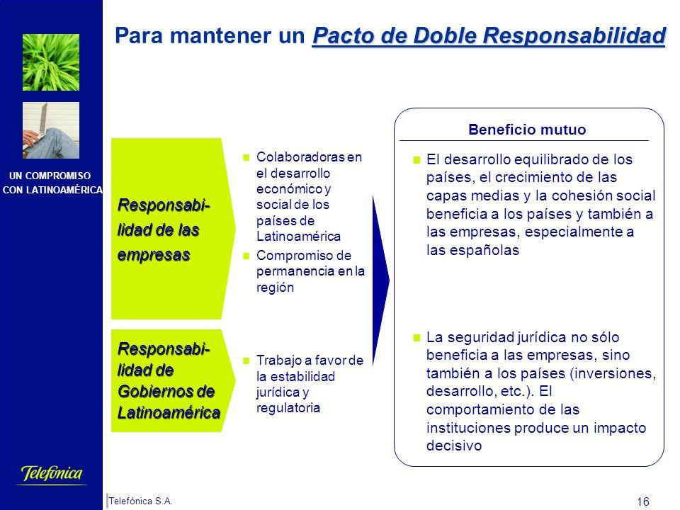 UN COMPROMISO CON LATINOAMÉRICA Telefónica S.A. 15 Y para la protección de las inversiones es necesario: Además de los beneficios para la economía esp