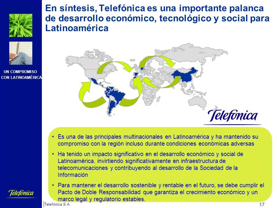 UN COMPROMISO CON LATINOAMÉRICA Telefónica S.A. 16 Pacto de Doble Responsabilidad Para mantener un Pacto de Doble Responsabilidad Responsabi- lidad de