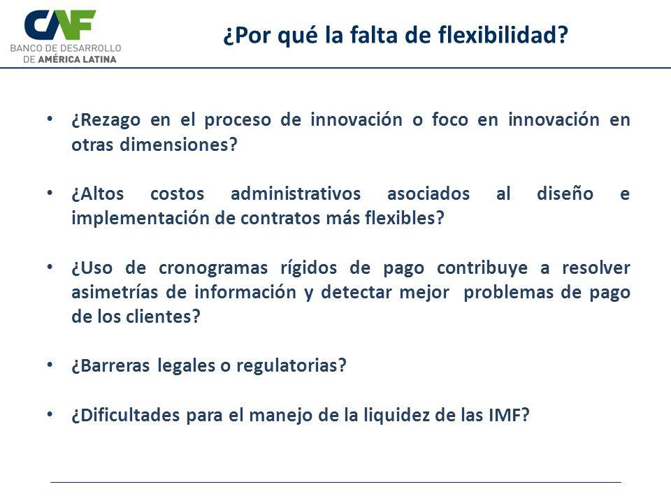¿Rezago en el proceso de innovación o foco en innovación en otras dimensiones? ¿Altos costos administrativos asociados al diseño e implementación de c